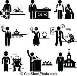 Special Jobs Occupations Careers - A set of people pictogram...