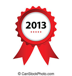 special label with ribbons - best of 2013 sign