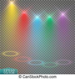 Special light effects. Realistic vector bright projectors for scene lighting isolated on plaid backdrop. Colorful stage lights background. Background show carnival. Vector