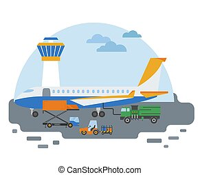 Special machinery collection. Airport ground support service  transportation coloured vector icon set isolated on white. Illustration vector design