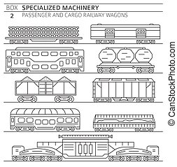Special machinery collection. Passenger and cargo railway wagons linear vector icon set isolated on white. Illustration