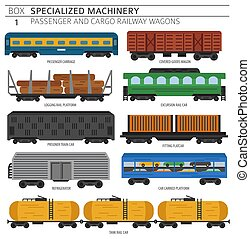 Special machinery collection. Passenger and cargo railway wagons vector icon set isolated on white. Illustration