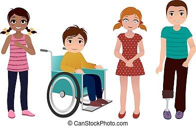 Special needs children happy set - set of happy special...