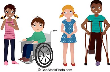 Special needs children sad set - set of sad special needs...