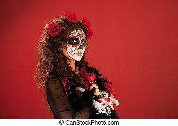 Special Occasion - Woman in makeup for Dia De Los Muertos...