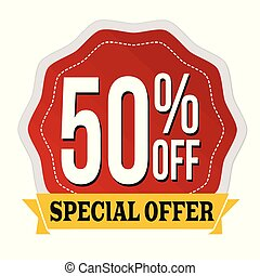 Special offer 50% off label or sticker
