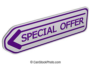 Special offer arrow. 3D rendering.