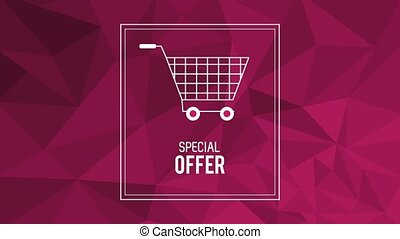 Special offer baner with shopping cart HD animation
