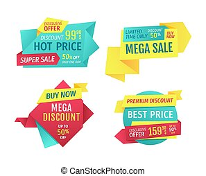 Special offer banners set, vector design icons
