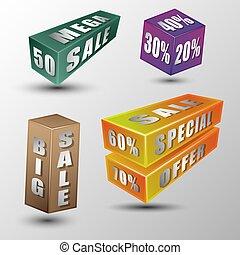 sale message on 3d box