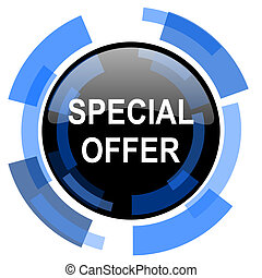 special offer black blue glossy web icon