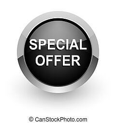 special offer black chrome glossy web icon