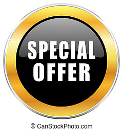 Special offer black web icon with golden border isolated on white background. Round glossy button.