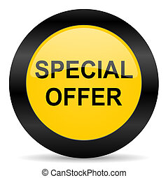 special offer black yellow web icon