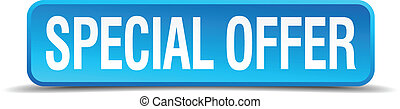 Special offer blue 3d realistic square isolated button