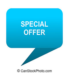special offer blue bubble icon