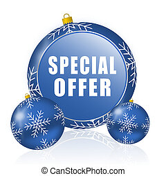Special offer blue christmas balls icon