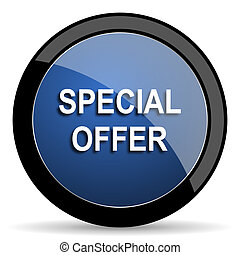 special offer blue circle glossy web icon on white background, round button for internet and mobile app