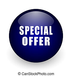Special offer blue glossy ball web icon on white background. Round 3d render button.