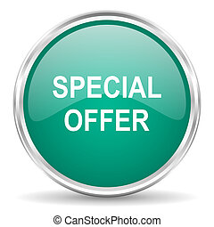 special offer blue glossy circle web icon