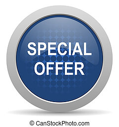 special offer blue glossy web icon