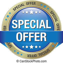 special offer blue gold button isolated background
