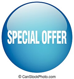 special offer blue round gel isolated push button
