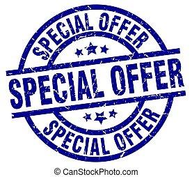 special offer blue round grunge stamp