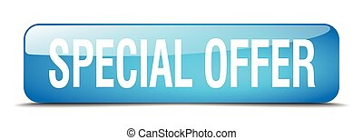 special offer blue square 3d realistic isolated web button