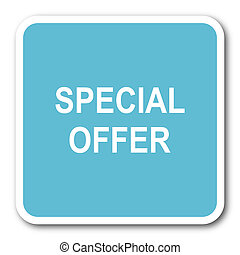 special offer blue square internet flat design icon