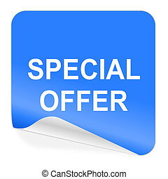 special offer blue sticker icon