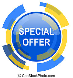 special offer blue yellow glossy web icon