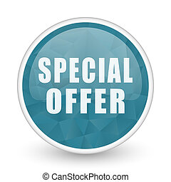Special offer brillant crystal design round blue web icon.
