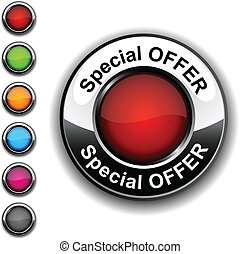 Special offer button. - .Special offer realistic button....
