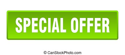 special offer button. special offer square green push button