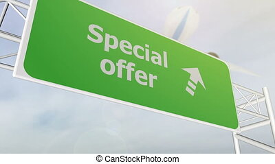 Special offer concept road sign on highway - Special offer...