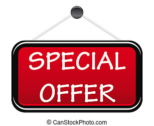 Special offer display board ilsolated on white