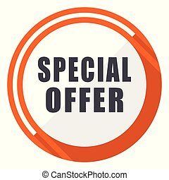 Special offer flat design vector web icon. Round orange internet button isolated on white background.