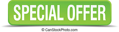 Special offer green 3d realistic square isolated button