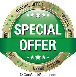 special offer green gold button