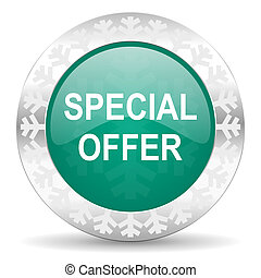 special offer green icon, christmas button