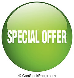 special offer green round gel isolated push button
