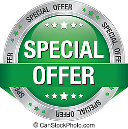 special offer green silver button