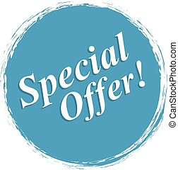 Special Offer grunge style blue colored on white background