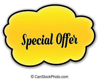 SPECIAL OFFER handwritten on yellow cloud with white background