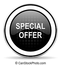 special offer icon, black chrome button