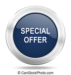 special offer icon, dark blue round metallic internet button, web and mobile app illustration