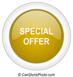 special offer icon, golden round glossy button, web and mobile app design illustration