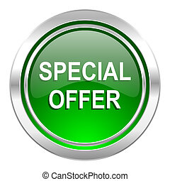 special offer icon, green button