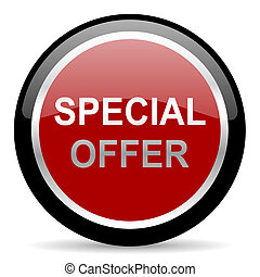 special offer icon - red glossy web button on white ...